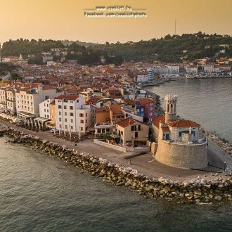 Bird eye view of #Piran. It is a town in southwestern #Slovenia on the Gulf of Piran on the #Adriatic Sea. You can swim in the see, after a hot day. It is one of the three major towns of Slovenian #Istria. The town has much medieval architecture, with narrow streets and compact houses. 